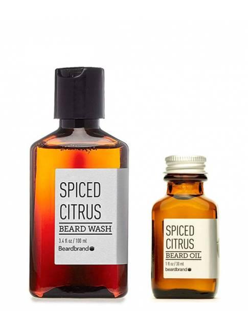 """Pack de Aceite y Champú para Barba """"Beardbrand Spiced Citrus"""""""