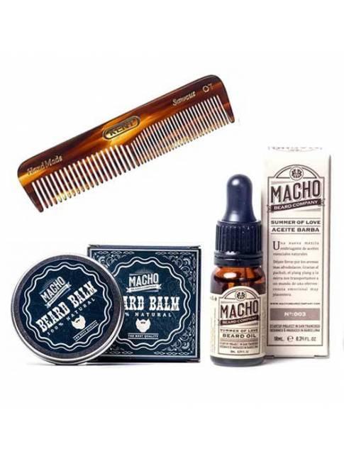 Pack de Aceite y Bálsamo para Barba Macho Beard Co y Peine Kent