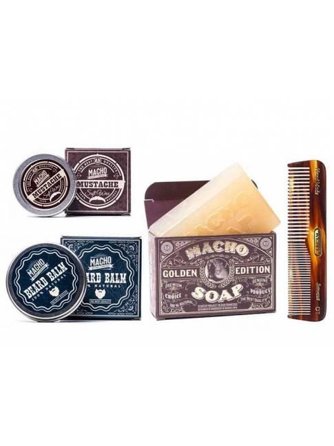 Pack de Bálsamo, Jabón y Cera para Barba Macho Beard Co y Peine Kent