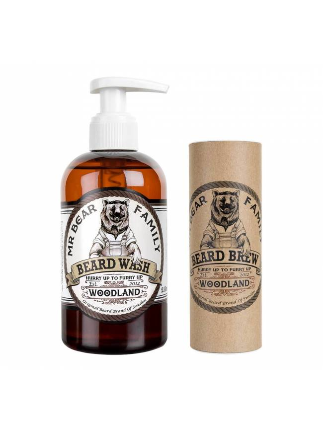 "Pack de Aceite y Champú para Barba Woodland de ""Mr. Bear Family."""